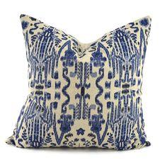 Indigo Blue Navy & Oatmeal Ikat Pillow Cover by ThePillowSpot