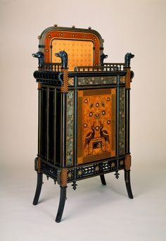 c.1875 Cabinet by Herter Brothers, American; Ebonized cherry with marquetry of various woods