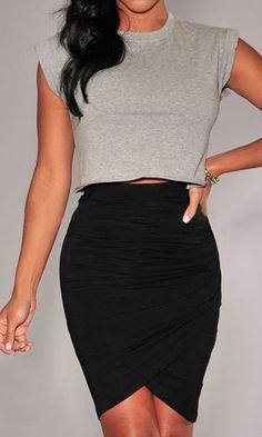 Black Asymmetrical Bodycon Skirt 9.99
