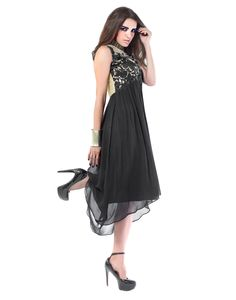 Inddus Exclusive Women Splendid Black Georgette Embroidered Kurti With Sizes -  S, M, L, XL.