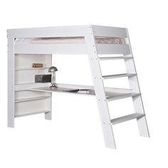 julien kids loft bed & desk in brushed white pine Loft Beds For Small Rooms, Cool Loft Beds, Cool Beds For Kids, Loft Bunk Beds, Loft Bed Desk, Diy Pallet Furniture, Furniture Design, High Sleeper Bed, Loft Bed Plans