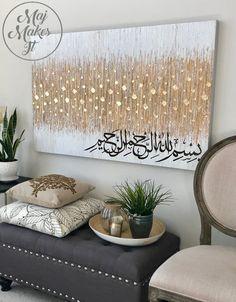 Original Islamic Art – Bismillahir Rahmani Rahim – Gold Embellished – – Famous Last Words Islamic Wall Decor, Arabic Calligraphy Art, Calligraphy Alphabet, Islamic Paintings, Ramadan Decorations, Diy Canvas, Metallic Paint, Diy Art, Original Art