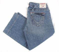 True Religion Women's Carmen Crop Jeans 27 x 20 Capri Low Rise Blue Denim Pants #TrueReligion #CapriCropped
