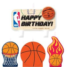 Top your basketball fan's cake with these Spalding Basketball Birthday Candles. They feature basketballs, a 'Happy Birthday' headline, and the official NBA logo. Happy Birthday Basketball, Basketball Party, Basketball Hoop, Houston Basketball, Basketball Cakes, Birthday Supplies, Kids Party Supplies, Birthday Ideas, Winter Party Themes