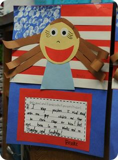 """""""If I Was President, I Would ...""""  For this assignment, students create a flag background and design their portraits on top."""