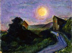 1945.01.07 Giovanni Costetti, Paesaggio di notte con la luna