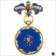 Patek Philippe パテック フィリップ Queen Victoria of Great Britain and Ireland ヴィクトリア女王のペンダント・ウォッチとブローチ  栄華を極めたイギリスで、その頂点に君臨し続けた女王ヴィクトリア。1851年、ロンドンで開催された世界初の万博博覧会で彼女に献上されたのはロイヤルブルーの時計だった。