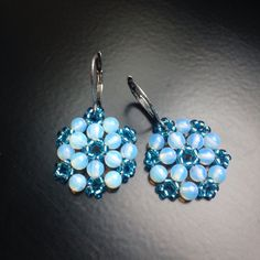 BW47 Winter is coming! Beaded snowflakes - opalite and seed beads.