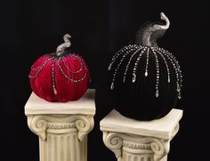 """Velvet Display Pumpkins - Katherine's Collection – Black Bow Halloween Shoppe. Stunning holiday pumpkins in rich purple and black velvet, dripping with shimmering rhinestones and finished with delicate lace. From the Midnight Magic line, these posh velvet pumpkins will be admired by all! 9"""" and 15"""". Sold as a set of two. Katherine's Collection. FREE SHIPPING!!"""