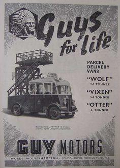 Parcel delivery vans from Guy Motors Wolverhampton, Birmingham, Automobile, Old Lorries, Vintage Illustration Art, Parcel Delivery, Bus Coach, Commercial Vehicle, Old Trucks