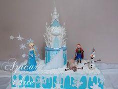 Torta de 30 x 60 cm, con castillo en altura, Elsa, Ana, Olaf y Sven