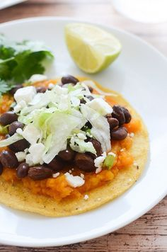 Butternut Squash and Black Bean Tostadas @FoodBlogs