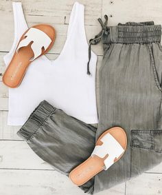 Cute + Basic Cargo Joggers white sandals summer outfit inspo #ootd