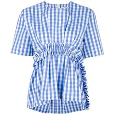 Msgm Vichy Top With Rouches ($195) ❤ liked on Polyvore featuring tops, navy, gingham top, navy blue top, flutter-sleeve top, frilly tops and navy top