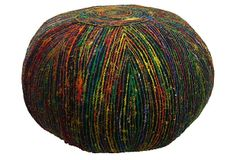 Nina Recycled Silk Pouf, Black/Multi on OneKingsLane.com