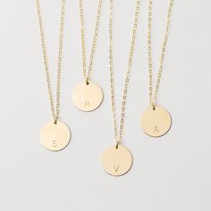 Large personalised disc necklace - gold circle necklace - customised initial necklace - large disc necklace - if not now then when