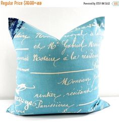 SALE Blue Pillow Penmanship Arctic blue and natural French