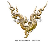 Ornament of gold plated vintage floral ,thai art Style isolated on white background. This has clipping path.