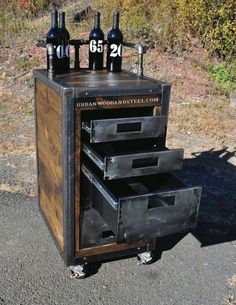 Crestway Boozer Bar Cart by urbanwoodandsteel on Etsy