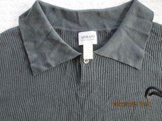 Armani Collezioni slate gray ribbed silk polo #ArmaniCollezioni #PoloRugby