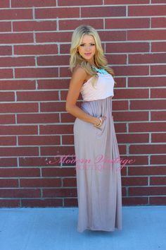 Modern Vintage Boutique - PEACH AND Taupe Strapless Maxi Dress with Cinched Bust with Two Side Pockets, $48.00 (http://www.modernvintageboutique.com/peach-and-taupe-strapless-maxi-dress-with-cinched-bust-with-two-side-pockets.html)
