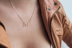 Rose Gold Love Necklace Rose Gold Name Necklace 18k by capucinne, $280.00