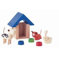 Plan Toys Pets And Accessories, to augment our farm animals wooden toys, it would be nice to have family animals too (e.g. dog, cat and rabbit!)
