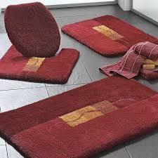 Shaggy Dark Red Bathroom Rugs Set