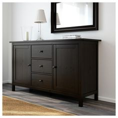 IKEA - HEMNES, Sideboard, black-brown, Solid wood has a natural feel. Use fasteners suitable for the walls in your home. Coordinates with other furniture in the HEMNES series. Hemnes Sideboard, Sideboard Dekor, Solid Wood Sideboard, Sideboard Table, Black Sideboard, Dining Room Dresser, Side Board, New Living Room, Home And Living