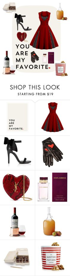 """it's de-lovely"" by dadi13 ❤ liked on Polyvore featuring Miss Selfridge, Boutique Moschino, Yves Saint Laurent, Dolce&Gabbana, Mark & Graham, Brooklyn Brew Shop and The Hampton Popcorn Company"