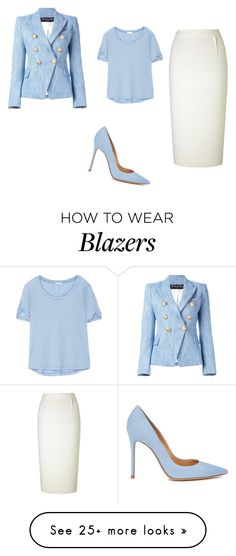 """Blazer line"" by hazelwoodnaomi on Polyvore featuring Balmain, Roland Mouret, Gianvito Rossi and Splendid"