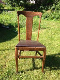 1900s Tiger Oak T Back Side Chair Tback W Paw Feet