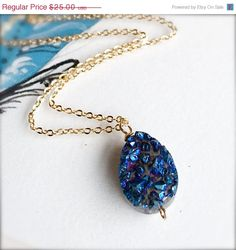 FALL SALE Druzy JewelryPendant by thestellabluegallery on Etsy, $22.50
