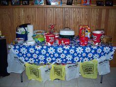 White Trash Party - Sloppy Joes, KFC, Beef Jerkey, Twinkees, Pigs in a Blanket. I LOVE the walmart and dollar tree bags! Redneck Birthday, Birthday Menu, Redneck Party, 40th Birthday Parties, Redneck Gifts, Trailer Trash Party, Hillbilly Party, Redneck Christmas, White Trash Party