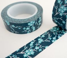 Single roll of washi tape with blue sakura cherry blossom pattern. Great for scrapbooking, gift wrapping, decorating cards and envelopes and more! Add a little dash of cuteness to any crafting project