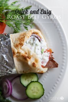 Food and Drink. Quick and Easy Roast Beef Gyros with Tzatziki Sauce