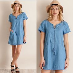 SALE Denim Fringe Shift Dress AVAILABLE in SMALL, MED, LARGE  •Denim Shift Style Dress •Fringe Detail •Lace Up Tie •100% Cotton   SMALL: 36in B, 33in L     MED: 38in B, 34in L     LARGE: 40in B, 34in L  •••••••••••••••••••••••••••••••••••••••••••  Hello! I'm Monika. I'm a Boutique Owner & an Entrepreneur Mentor. Welcome to my closet!   Let's keep in touch  Instagram: @monikarosesf YouTube: MonikaRoseSF Snapchat: itsmonikarose Monika Rose SF Dresses