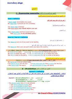 مذكرة لغة إنجليزية للصف الثاني الثانوي 2021 لمستر عماد عباس مذكرة انجليزي ثانيه ثانوي منهج جديد