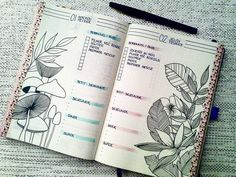 January Daily Log with flower. I love flower and botanical draw. #bulletjournal #bujo #showmeyourplanner #botanical #flower