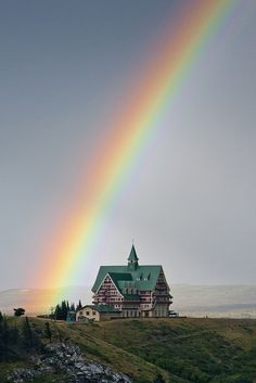 Rainbow over Prince of Wales Hotel in Waterton Lakes National Park