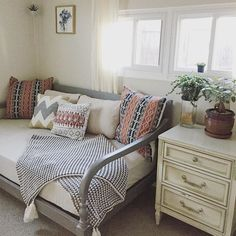 World Market Indonesia day bed in grey. Perfect for small spaces. Mix patterns on purpose for a trendy rustic look.  #worldmarket #affiliate