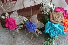 Burlap MultiColored Boutonnieres/Corsages by bellamariacreations, $12.50
