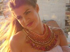Νefertiti crochet statement necklace fuchsia agate by GoGosJouls Kate Brooks, An Affair To Remember, Leather Sandals, Agate, Jewerly, Crochet Necklace, Gold Necklace, Bracelets, Coups