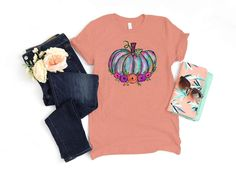 This adult shirt comes on a heather sunset UNISEX Bella Canvas shirt, These shirts are 100% combed and ringspun cotton for a soft and comfortable fit! Design will be as seen in images.Please use the size chart when ordering.Other shirt styles and colors are available, please message me to discuss! Teal Pumpkin, Fall Shirts, Social Media Icons, Bella Canvas, Fabric Painting, New Product, Shirt Style, Size Chart, Unisex