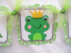 Frog, prince, baby shower, banner, its a boy,  green, white, READY TO SHIP. $30.00, via Etsy.