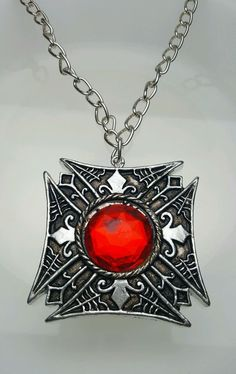 Gothic Medallion Vampire Red Silver Halloween Costume Accessory New