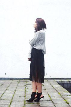 Fringe Skirt + Knit