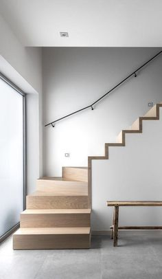 19 Ideas For Stairs Modern Concrete Interiors Round Stairs, Open Stairs, Floating Stairs, Wooden Staircases, Modern Staircase, Spiral Staircase, Stairways, Home Stairs Design, Interior Stairs