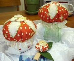 Pat:  longer button strings or fringe could make jellyfish pincushions.