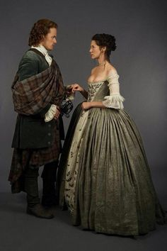 Jamie and Claire in their wedding clothes <3